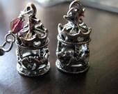 Dangle earrings | silver horse charm | purple | carousel horse