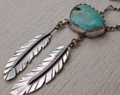 Arizona Turquoise and Sterling Silver Feather Statement Necklace with Handmade Twist Chain by Autopilot Empires One of a Kind.