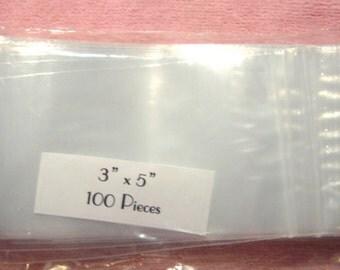 100 3 x 5 Clear Poly Plastic Zip Top Ziplock Bags Food Safe