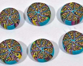 Polymer Clay Beads - 6 handmade beads