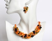 Halloween Orange Flower Cluster Necklace and Earrings Set