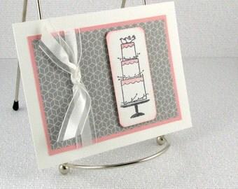 Marriage Congratulations Wedding Card Handmade Wedding Cake Just Married Bride and Groom
