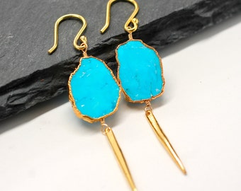 Turquoise Earrings , Blue Earrings , Long Earrings , Spike Earrings , Dangle Earrings , Gold Earrings , Drop Earrings , Amy FIne