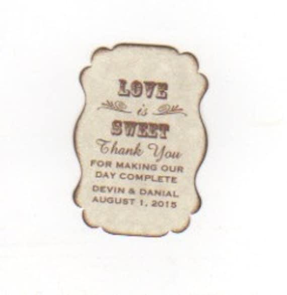 Custom Listing For Devin - 200 Wedding Favor Gift Tags / Place Card Escort Tags / Love Is Sweet / Honey Jam Jar Labels - Vintage Sepia