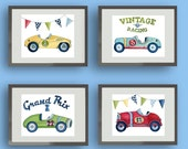 Race car nursery art, vintage race car boys art, boys nursery art, race car artwork, childrens art, boys race car artwork, kids wall art