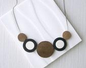 Modern Necklace - Nickel Free Jewelry, Geometric, Wood Anniversary Gift, Neutral, Statement, Sterling Silver, Ebony, Greige, Grey, Brown