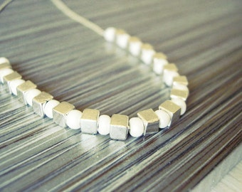 Contemporary Pearl Necklace - Modern Jewelry, Seed Beads, Silver Cubes, Bridal, Cream, Off-White