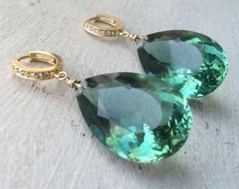 Sale Green Amethyst Earrings. Pave Gold Earrings. Leverbacks. Statement earrings