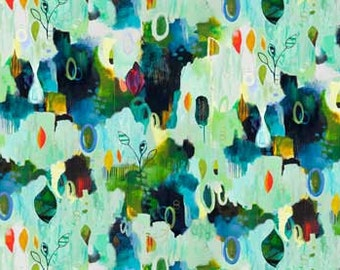 Root and Fly by Flora Bowley for Red Rooster - First Sprouts - Full or Half Yard Digitally Printed Modern Abstract Garden
