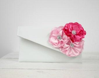 Pink Bridesmaid Clutch | Bridesmaid pink clutch gift | Pink wedding purse | Pink flower purse