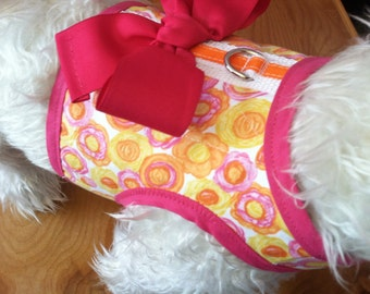 SALE  Pink n Orange Floral Small Dog Harness with Bow Made in USA