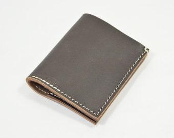 Veg Tanned Dark Brown Leather Bi Fold Card Bill Wallet Handmade