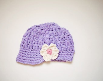 SALE - Violet Baby Girl Newsboy Hat with Flower - Crochet Baby Hat, Cotton Baby Girl Hat, 6 to 12 Months - Ready to Ship