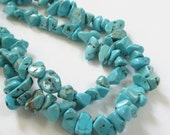 "Turquoise Chip Nugget Beads - Small Blue Beads - Rough Cut Beads - 19"" Strand - Howlite Gemstone - Dark Matrix - DIY Jewelry Making"