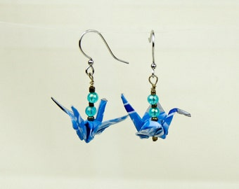 Eco-Friendly Origami Peace Crane Earrings, Hand-made in Blue