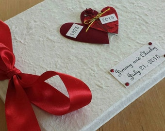 Personalized Hearts 40th Anniversary Guest Book