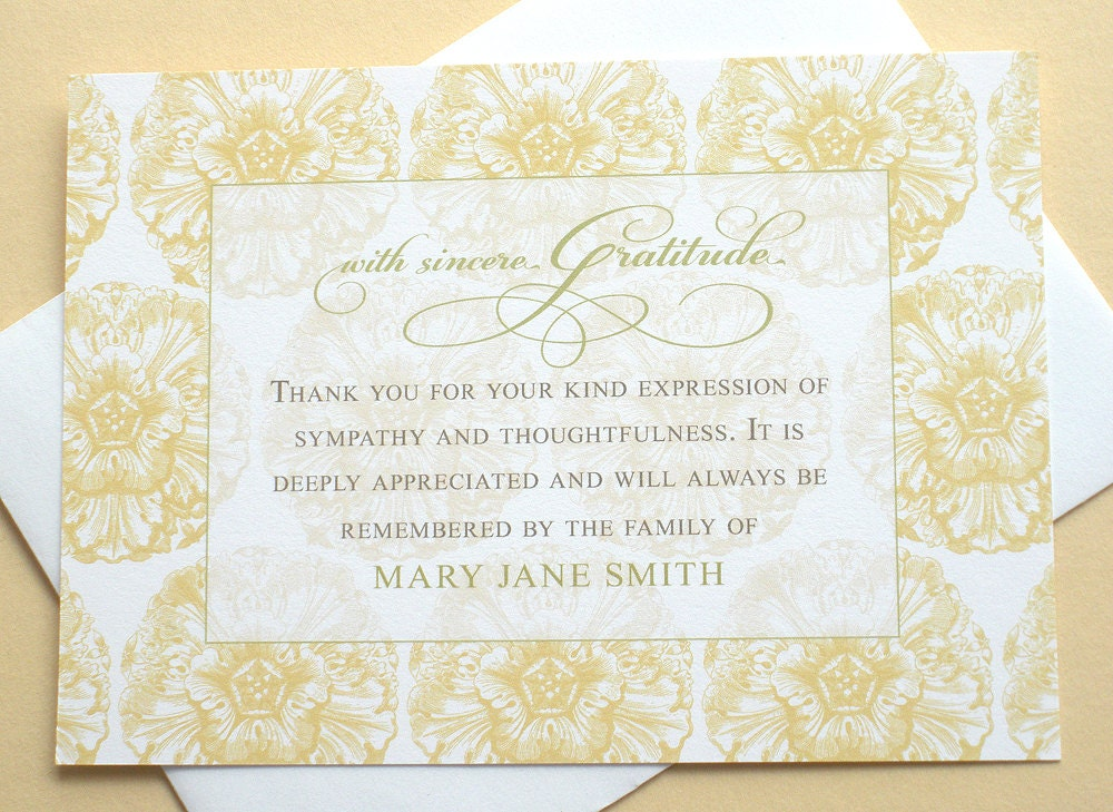 funeral thank you cards with a yellow background of flowers