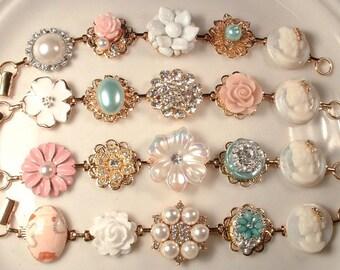 Gold Blush Mint Blue/Green Bridesmaid Bracelets, Set 4 5 6 7 8 9 Bridesmaids Gifts, Rustic Wedding Pearl Rhinestone Vintage Earring Bracelet