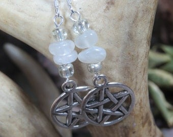 Moonstone Pentacle Earring, Moonstone Earrings, Witch's Pentacle, Wiccan Jewelry, Witchcraft, Wicca, Moonstone Crystal, Crystal Earrings