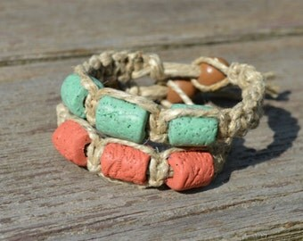 Surfer Phatty Hemp Bracelet With Colored Lava Clay Beads