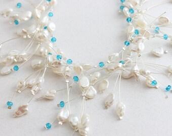 Delicate White Pearl Cluster Necklace, Aqua Blue, Cluster Necklace, Beach Wedding Bib Necklace, Layered Pearl Branch Necklace, Silver