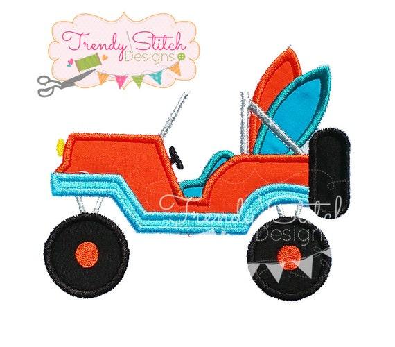 Jeep surf applique machine embroidery design instant