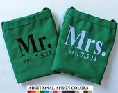 Personalized Established Date Aprons - His and Hers Aprons with Wedding Date - Wedding Bridal Shower Gift - Monogrammed Embroidered Apron