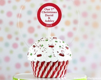Personalized Our First Christmas Ornament - Swirly Stripe Cupcake #CUP229