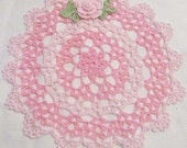 crocheted doily orchid pink and french pink home decor handmade in USA original design