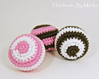 Crochet ball baby rattle set of three - organic cotton - pink, brown and white