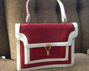 Vintage Handbag Red White Accordion Purse Gold Clasp