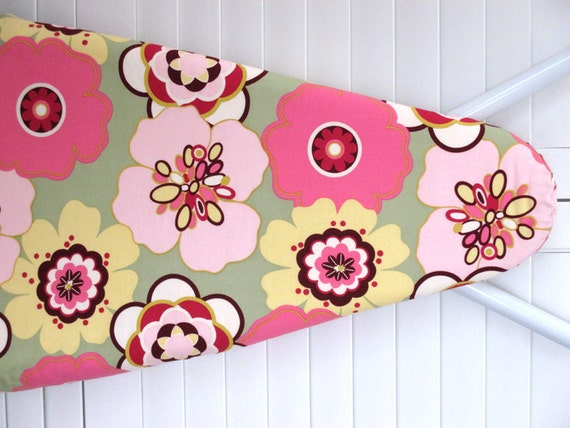Ironing Board cover in Alexander Henry  with large Pink flowers on Sage background.