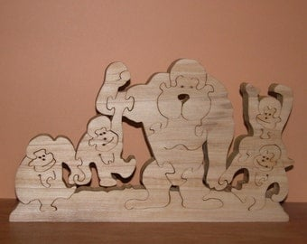 Five Monkey Puzzle - Home Decor - Animal Puzzle - Wooden Monkeys
