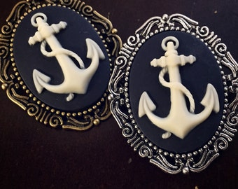 Anchor Cameo Brooch / Pick your Finish / Pirate Cosplay Costume / Nautical Gift Navy / Sailor Steampunk Pin Boquet Wedding Bridal Bride