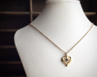 Vintage Harriet Carter Necklace 24k Pated Gold and Sappire Heart Necklace
