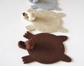 Family Set of Bear Rug Coasters (2 regular size + 1 baby size)