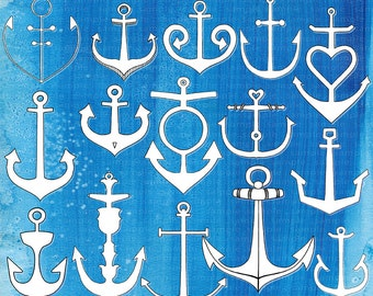 Anchor ClipArt, Hand-Drawn Line Art Anchor Clip Art & Silhouette, PNG Maritime Illustration + PS Brush Digital Stamp, Nautical Nursery