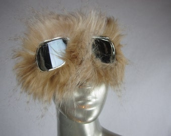 Monster Dust Goggles   Great fur Burning Man -Furry Aviator Goggles - Fur Motorcycle Goggles -Natural Lion Mane Faux Fur