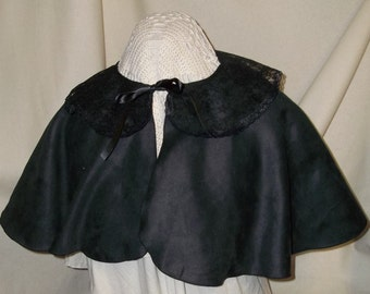 Black Capelet- Suede and Lace Costume Cape