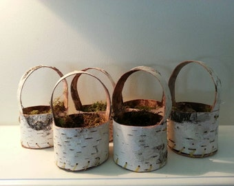 Mini birch bark baskets, bridesmaids gifts, birch wedding