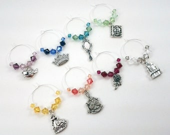 Beauty and the Beast Wine Charms, Stemware, Cocktail Charms
