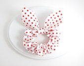 Bunny Ears Knot Bow Hair Scrunchie, White and Red Polkadot