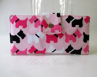 Clearance - Handmade women's wallet My Scottish puppy and friends - Dogs in pink, black and white - ID clear pocket - Ready to ship