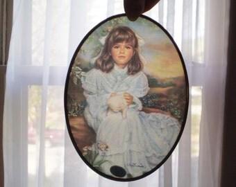 Vintage Victorian Girl Suncatcher, Shabby Cottage Sun Catcher, Victorian Girl Sun Catcher, Window Decor, Victorian Decor