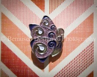 Sale - Lot of 5 Swirlie Butterfly Purple with Glitter Ribbon Lapel Pins