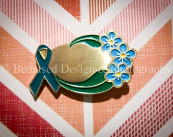 Sale - Lot of 10 Inscribable Teal Ribbon Lapel Pins