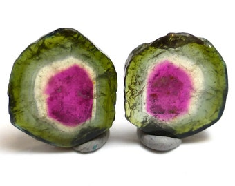 Watermelon Tourmaline Cabochon Sliced Pair for Earrings True Natural Color Gem Stone Perfect Stacking Rings Trillion Handmade Designer AAA