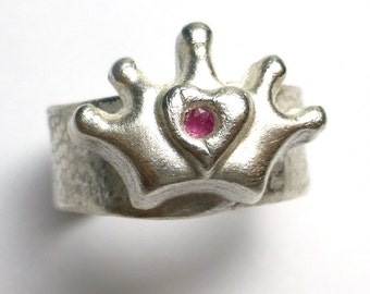 Fine Silver Crown Ring Broken Heart Royal King Queen Recycled Fine Silver Pink Sapphire Ruby Size 8 One Of A Kind Rare Lisajoy Sachs Design