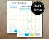 Whales and Ocean, Baby Bingo Shower Game, Professionally Printed Set of 12, Baby Shower Bingo