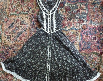Vintage 70s 1970s Prairie Summer Dress Gunne Sax Black Swiss Dot Floral XXS